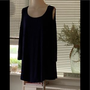 NWT JM COLLECTION NAVY CUT OUT TOP SZ 2X